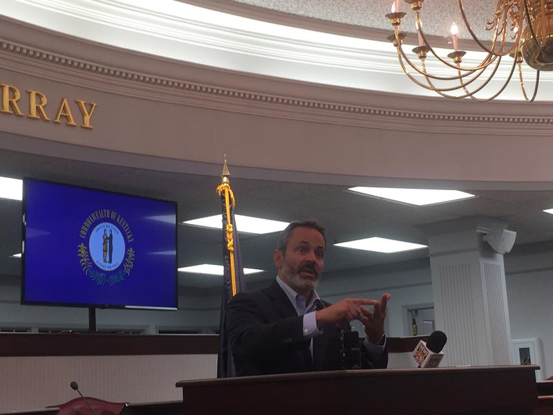 Kentucky Governor Matt Bevin addressed a packed room at Murray City Hall in Murray, Ky. on Friday.