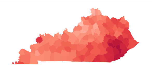 The data published by the left-leaning Kentucky Center for Economic Policy shows the number of Kentuckians enrolled in Medicaid expansion by each county.