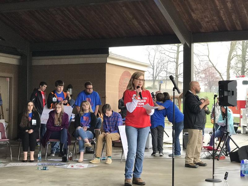 """Christa Dubrock speaking at the """"March For Our Lives"""" event in Marshall County last March."""