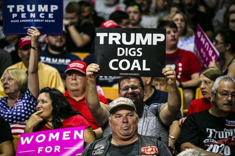 Trump supporters at his rally in Charleston, WV.