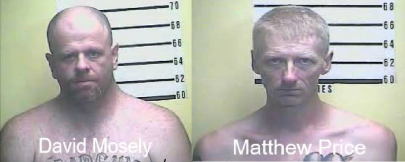 Kentucky State Police say 41-year-old David Mosely and 45-year-old Matthew Price sprayed a bleach concoction in the eyes of one jail worker and physically attacked another before escaping Tuesday night from the Bell County jail.