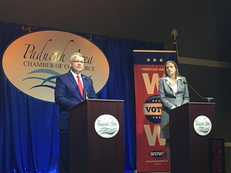 Ky. Dist. 2 State Senate Republican Incumbent Danny Carroll and Democratic Challenger Julie Tennyson debate in Paducah.