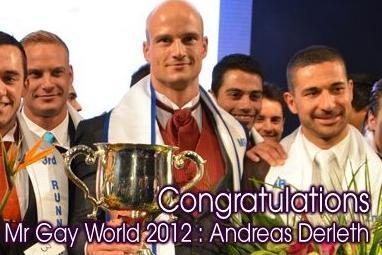 Andreas Derleth of New Zealand was named Mr. Gay World 2012.