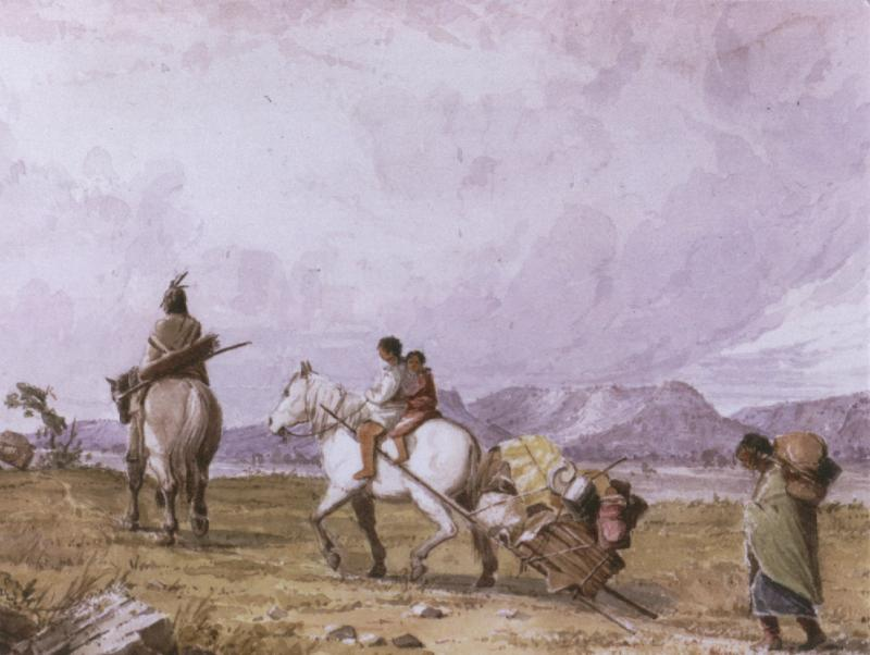 Seasonal moves were central to many Native American cultures. Indians Traveling, watercolor by Seth Eastman.
