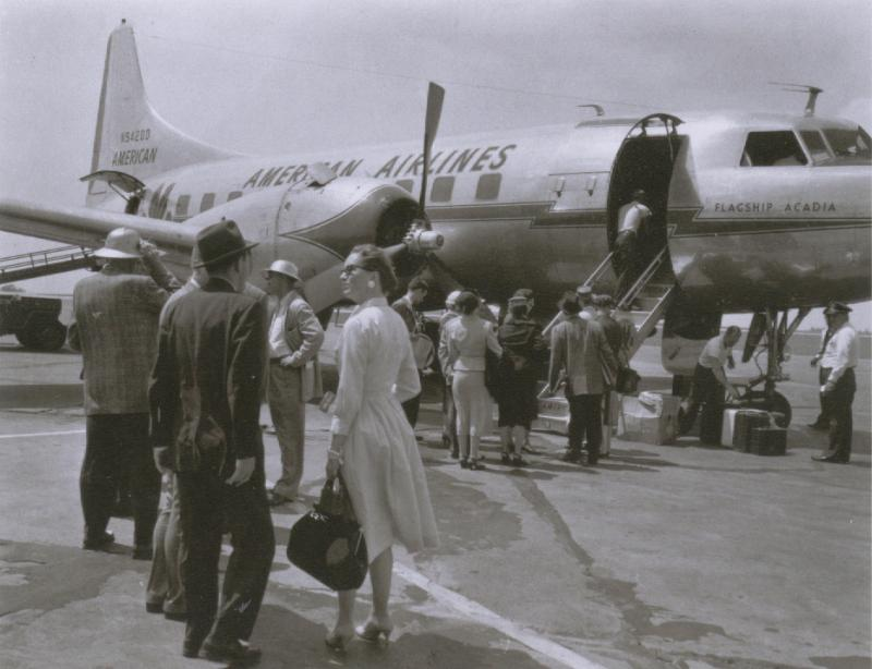 Travel editors board an American flight in Tennessee, 1957.