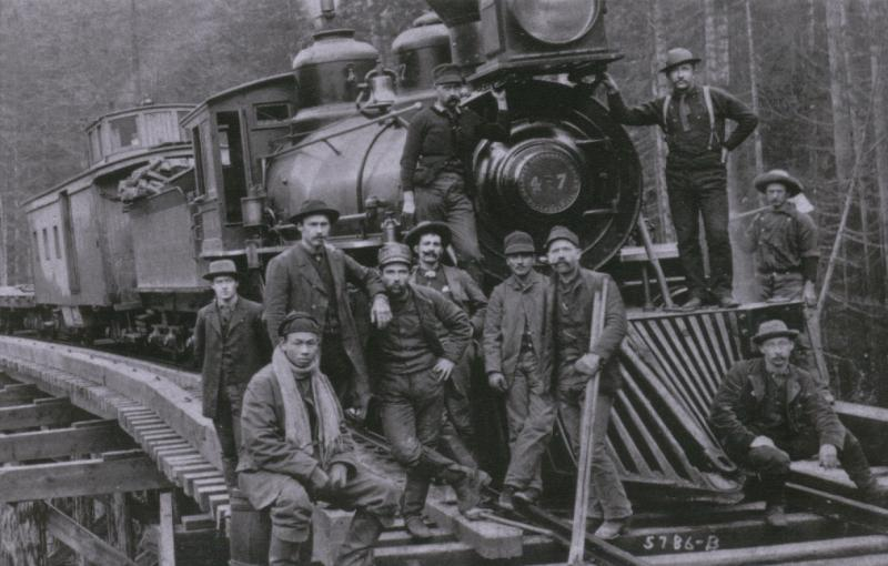 A Northern Pacific Railway survey team in Oregon, 1885.