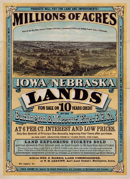 Railroads and other companies used land advertisements to attract settlers.