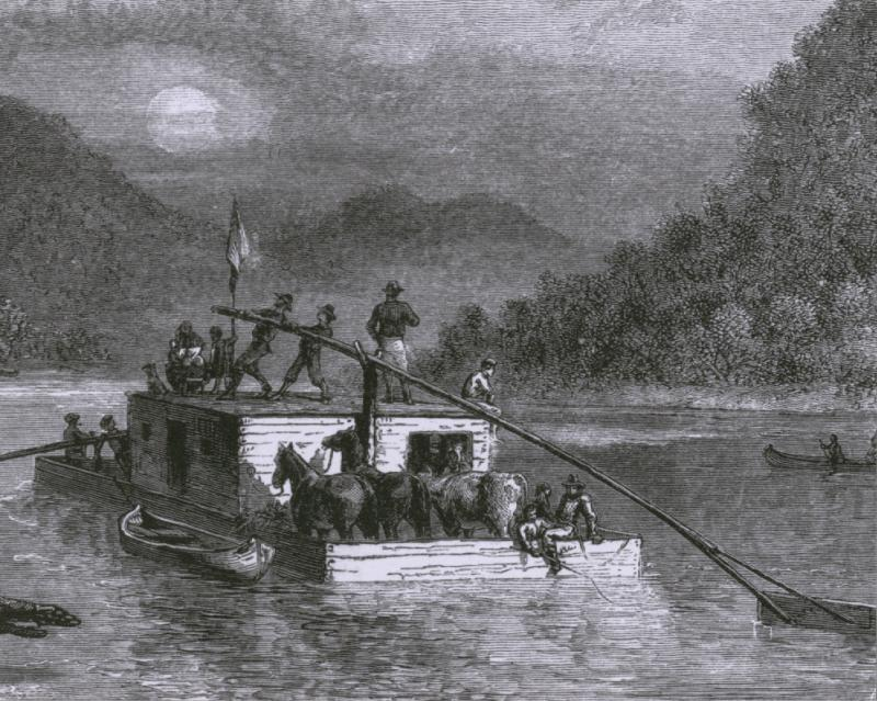 Emigrants travel down the Ohio River on a flat-bottomed boat.