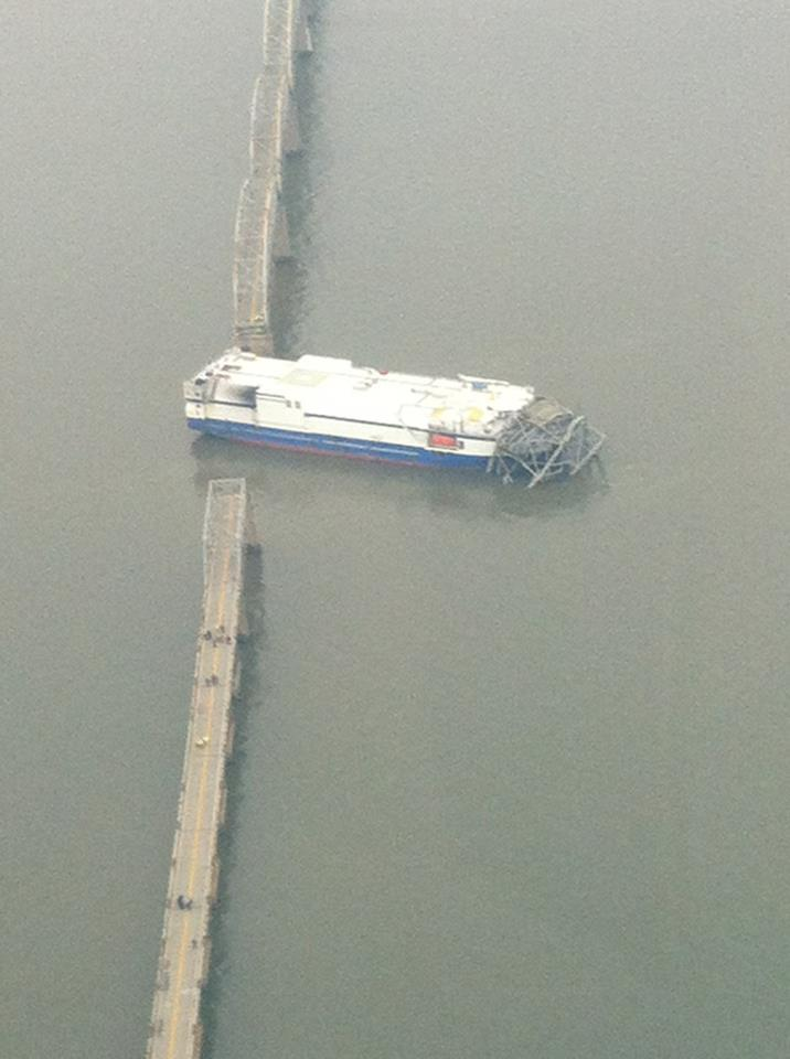 The Delta Mariner after striking the Eggner's Ferry Bridge last January