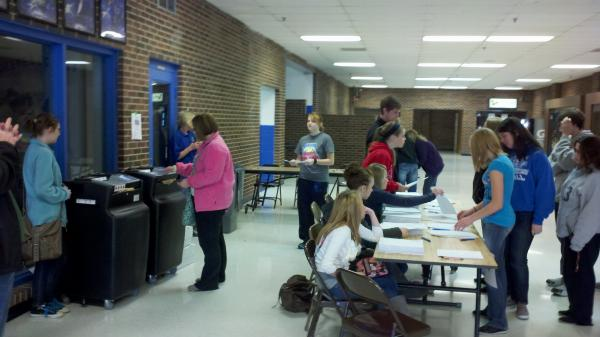 GCHS students vote in a mock presidential election at the school.