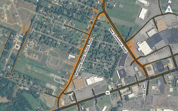 Image showing proposed plan to connect Olivet Church Road through Kentucky Oaks Mall to New Holt Road.