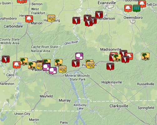Each Icon represents a storm report issued to the NWS from a trained spotter or law enforcement official.