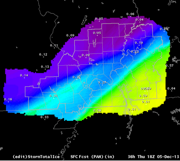 Ice accumulation forecast issued on 12-5-13