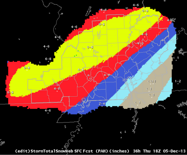 Snowfall prediction graphic issued 12-5-13