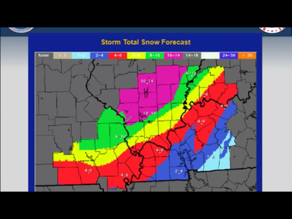 NWS Snowfall predictions updated on Saturday morning.