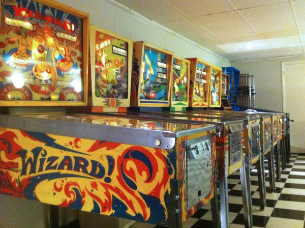 Just a few of Todd Duff's 20 restored pinball machines in Paducah, KY.