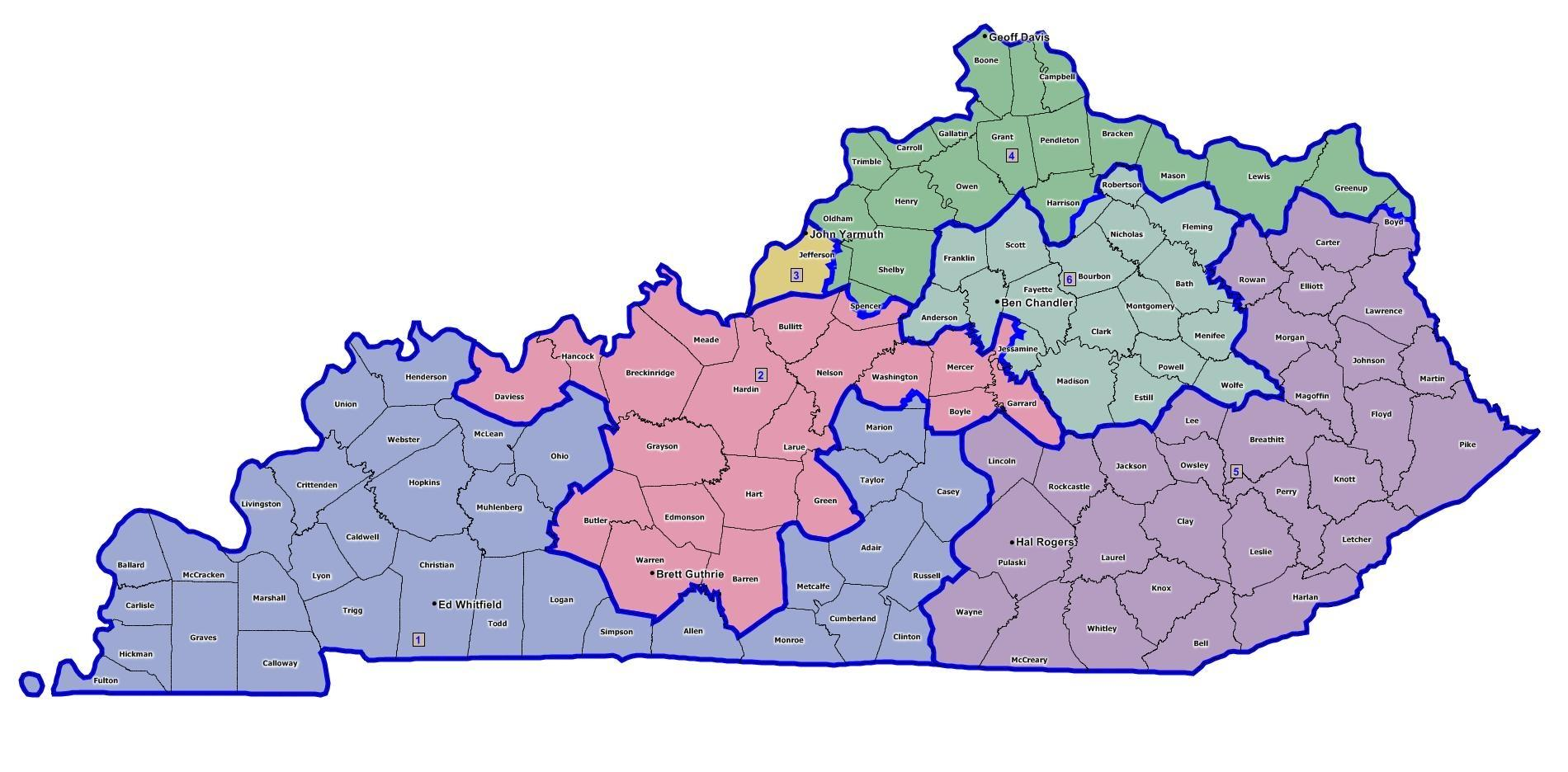 New Kentucky Congressional Districts WKMS - Map us house of representatives