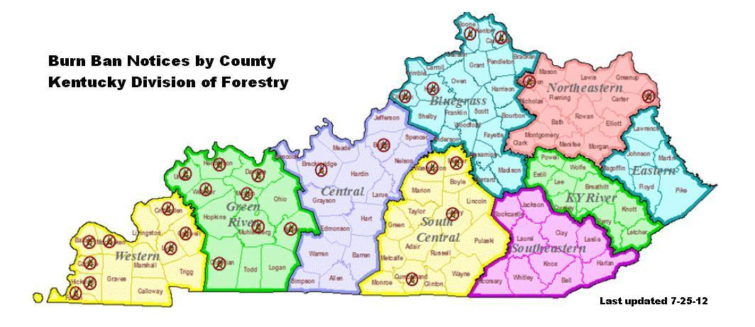 Many W Ky Counties Remain Under Burn Bans WKMS - Map of western kentucky
