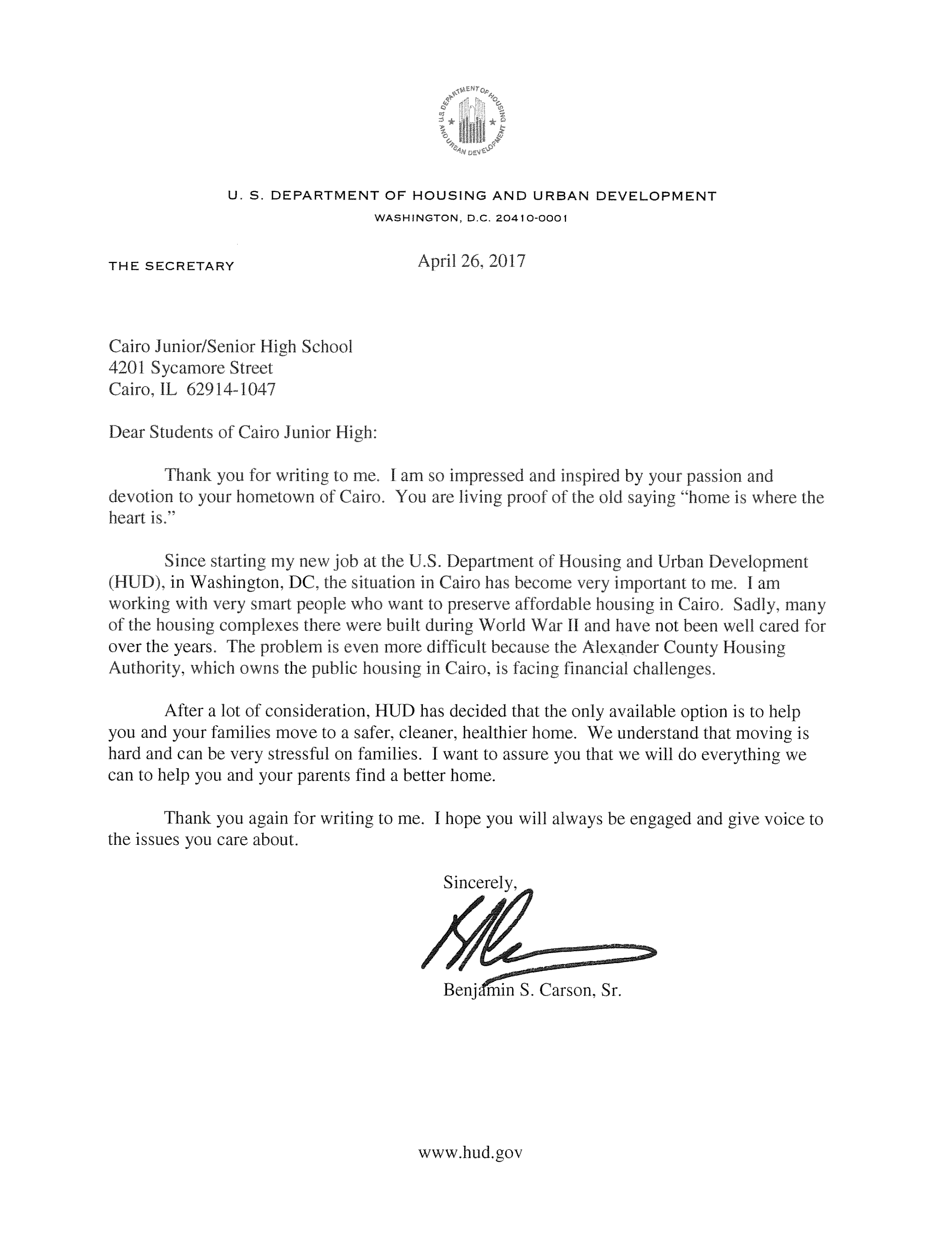 Ben Carson Responds To Letters From Students And Teachers In Cairo