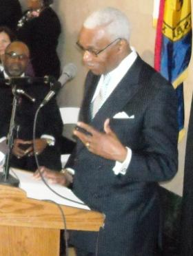 Memphis Mayor A C Wharton delivers his state-of-the-city address at the Pink Palace Museum.