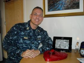 Senior Chief Dwayne Beebe in his barracks room at the Navy base in Millington.