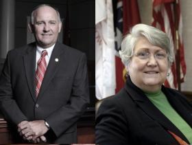 Mayor Stan Joyner of Collierville and Mayor Sharon Goldsworthy of Germantown