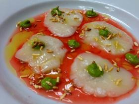 Scallops with Campari, watercress, olive oil and citrus were the first course.