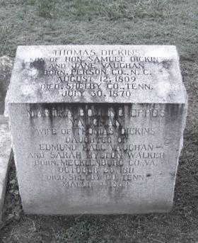 The Grave Marker for Col. Thomas Dickins, Located Near the Statue at Wade Bolton's Grave