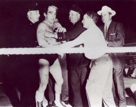 Sputnik Monroe in the wrestling ring.