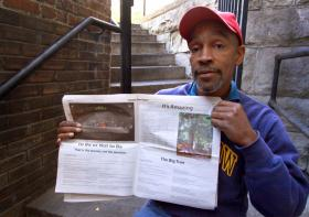 """Thaddeus """"Theddy"""" Wilkes has written a number of poems for """"The Bridge,"""" a local newspaper that supports the homeless."""