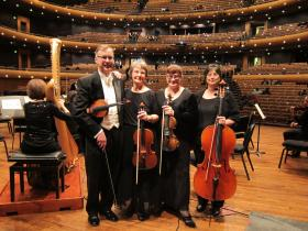 The Prison Stories String Quartet. From left: Gaylon Patterson (violin), Karen Casey (viola), Heather Trussell (violin), and Phyllis Long (cello).