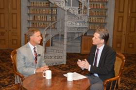 Tennessee Governor Bill Haslam (left) speaking with Behind the Headlines host Eric Branes.