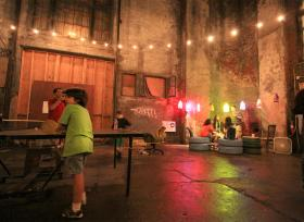 "Visitors told Rhodes College professor Heather Jamerson that the grittiness of the Tennessee Brewery reflected the spirit of Memphis. Here, visitors to the ""Untapped"" event enjoyed ping-pong and conversation."