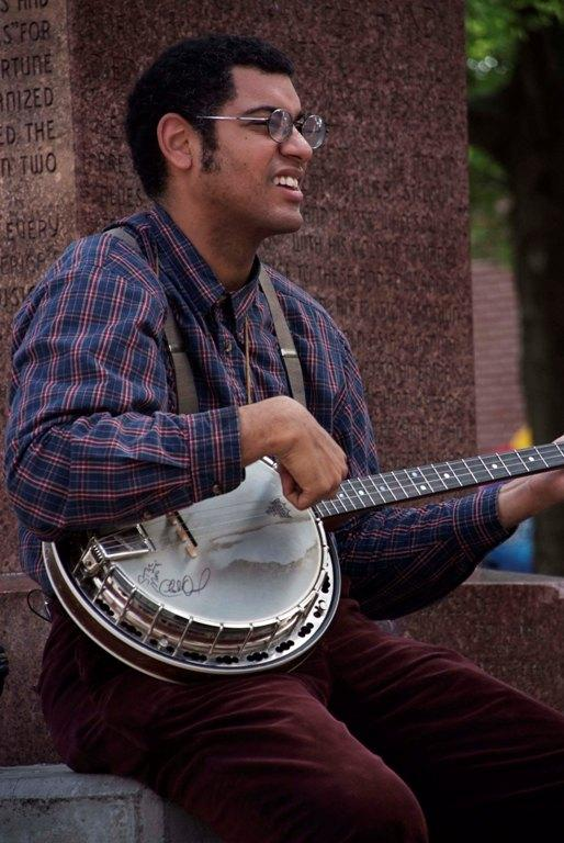 Dom Flemons of the Carolina Chocolate Drops at W.C. Handy Park in Memphis
