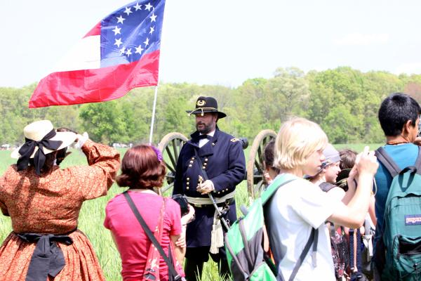 Curt Fields portrays General Ulysses S. Grant at a re-enactment of the Battle of Shiloh on March 31.
