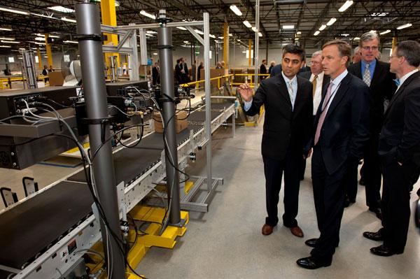 Gov. Bill Haslam and ECD Commissioner Bill Hagerty joined local and company officials on Thursday, Feb. 2 for an official grand opening and tour of the new Amazon fulfillment center in Chattanooga. Pictured is General Manager Sanjay Shah as he leads.