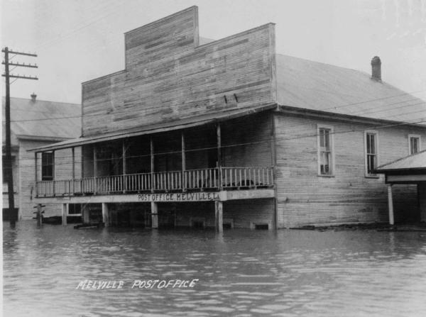 Melville, LA Post Office Underwater During the Mississippi River Flood of 1927