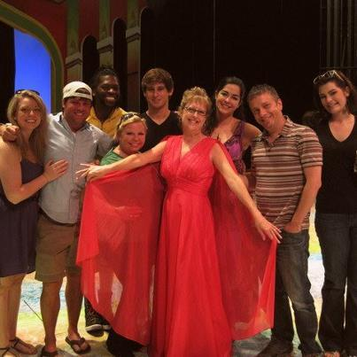 "Wearing my ""Homage to Xanadu Dress"" with the cast at WKNO-FM's Friday Live Lunch broadcast.  From left, Nicole Renée Hale, Standrew Parker, Jared Johnson, Courtney Oliver, Corbin Williams, me, Sarah Hoch, director Scott Ferguson, Claire Hayner."