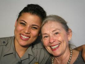 Robin Woods Loucks (right) poses with Spirit Trickey after taping an interview for StoryCorps in April 2012.