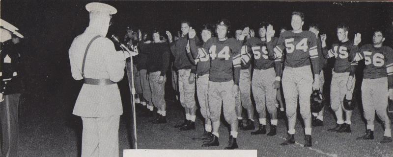 On Sept. 24, 1942, at halftime of the season opener, more than half of the remaining players on the Memphis State football team joined the Marine Corps Reserve. Major Stephen F. Drew administered the oath to the players during the swearing-in ceremony.