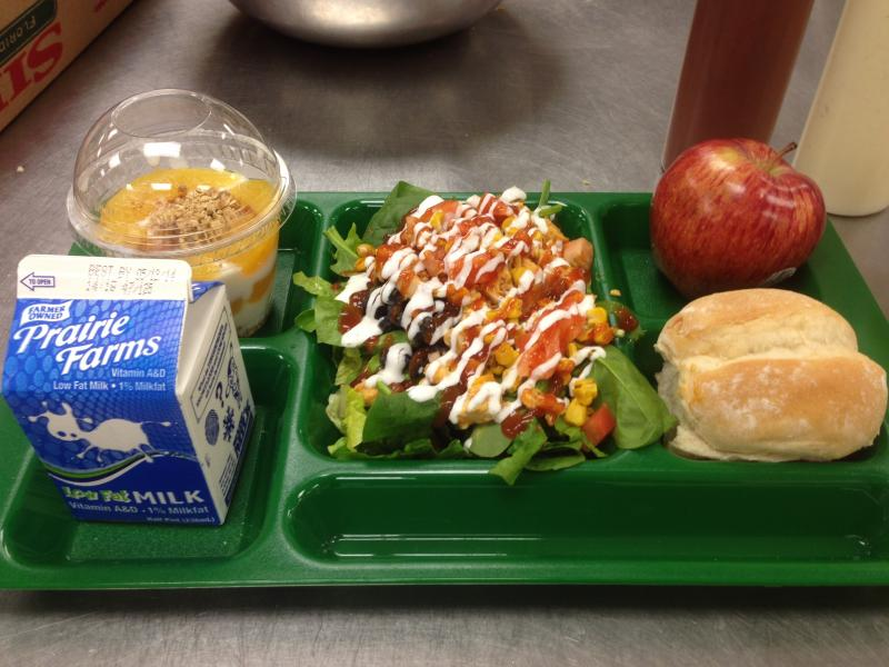 A barbecue chicken salad, drizzled in ranch dressing. Barbecue flavor was a favorite ingredient of Memphis' student cooks.