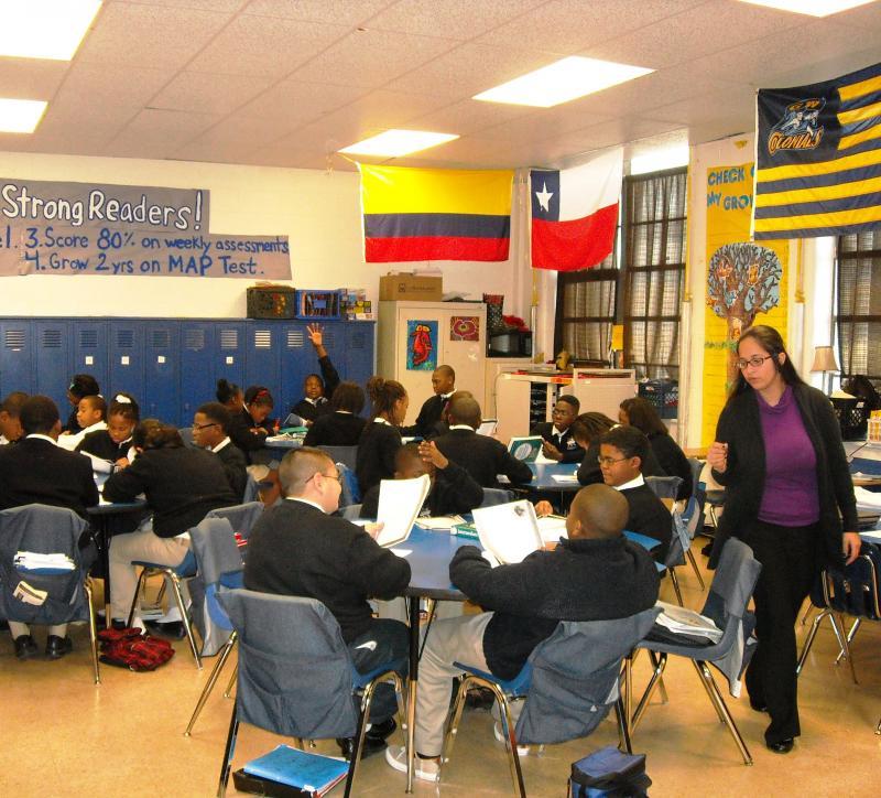 Andrea Criollo (right) teaches 6th grade reading at the KIPP DIAMOND Academy in Memphis.