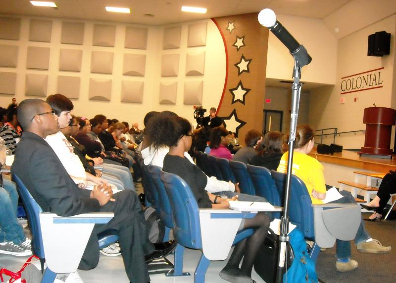 Students attend a listening session held by the Transition Planning Commission at Colonial Middle School.