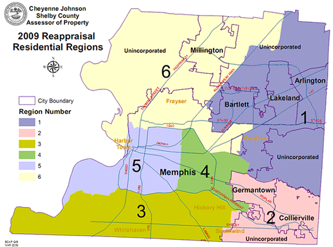 Residential regions for the controversial 2009 property assessment.