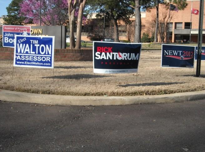 Signs outside the Germantown Performing Arts Centre polling station.