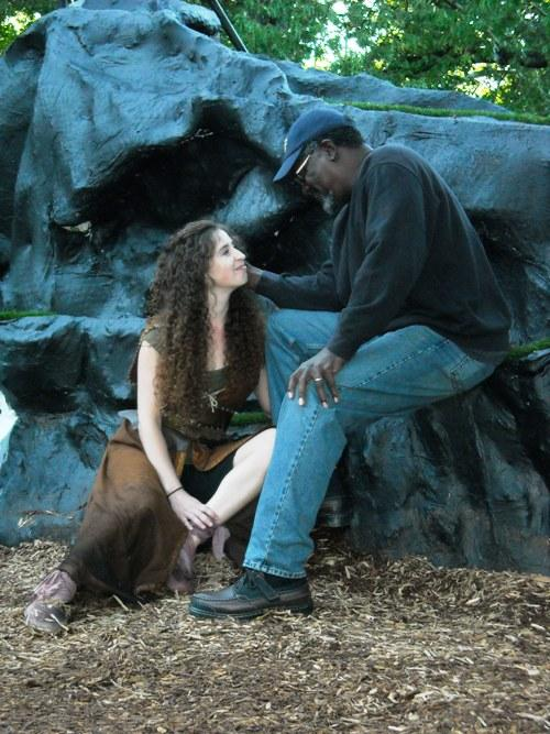 Actor Johnny Lee Davenport (Prospero) and Actress Amelia Hammond (Miranda) rehearse a scene from 'The Tempest.'