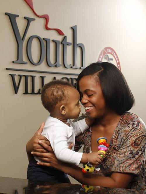 Bianca Christian with her son Bryson at Youth Villages.