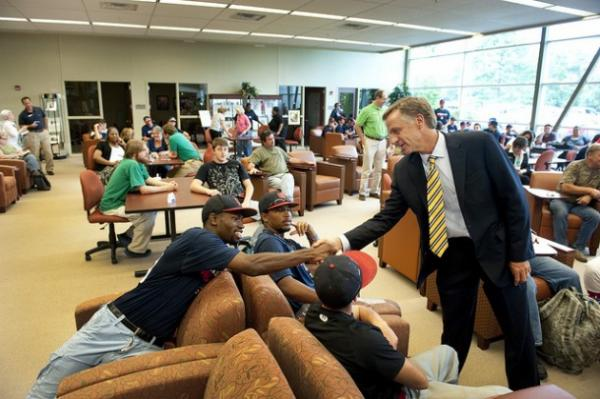 Governor Bill Haslam shakes hands with students at Dyersburg State Community College in September, 2013. In addition to his Tennessee Promise tuition plan, the Governor's budget includes funding for a new Williamson County campus of Columbia State and a new humanities building at Volunteer State in Gallatin.