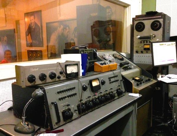 Save for the computer, most everything in Sun Studio's control room is Cold War Era recording equipment.