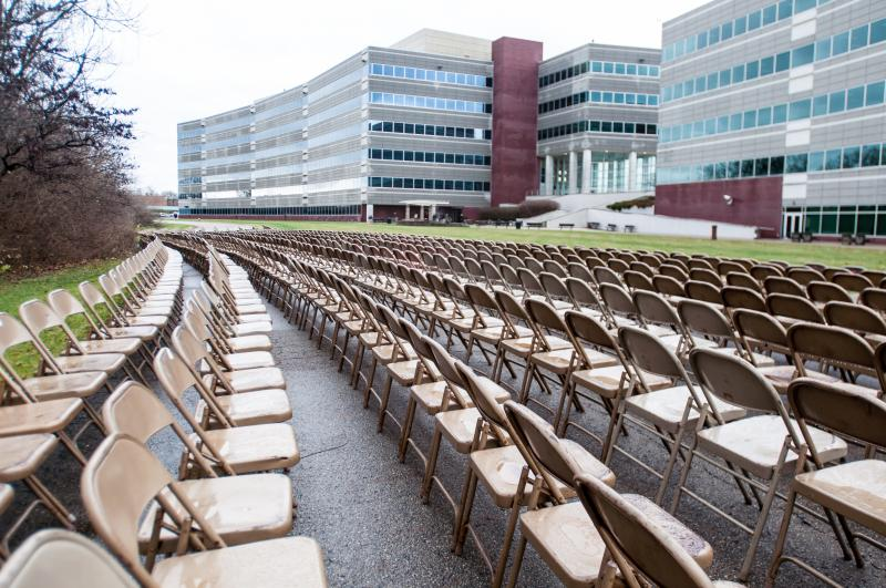 Chairs marking deaths
